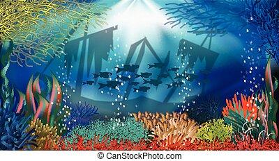 Underwater landscape banner, vector illustration