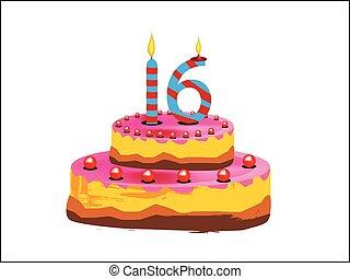 16-year-cake - sixteen years happy birthday or anniversary...
