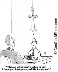 Damocles - Cartoon about life insurance.
