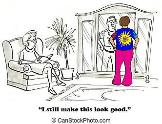 Hippie Clothes - Cartoon about a man who can fit into his...