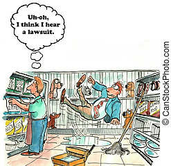 Lawsuit - Cartoon of a man slipping the store and filing a...
