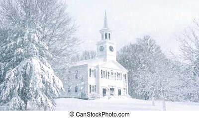 Scene Of Church In Snowfall - Pretty scene of church...