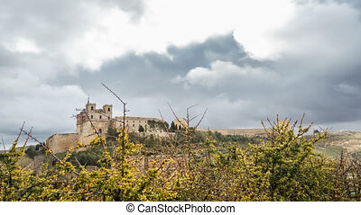 Ucles monastery time lapse in Cuenca, Spain - Wide angle...