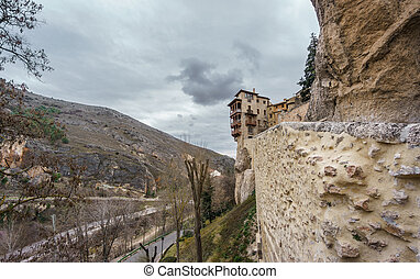 Ultra wide famous hanging houses in Cuenca - Wide angle view...