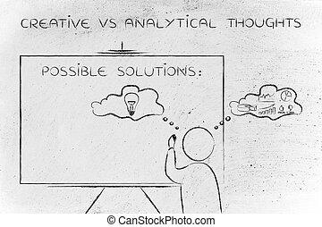 creative vs analytical thoughts: man writing on blackboard...