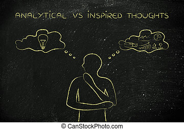 analytical vs inspired thoughts, man with contrasting ideas...