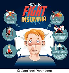 How to Fight Insomnia - A vector illustration of how to...