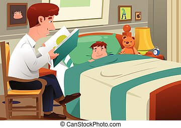 Father Reading Story - A vector illustration of father...