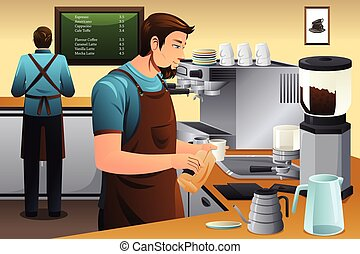 Barista Preparing Drip Coffee - A vector illustration of...