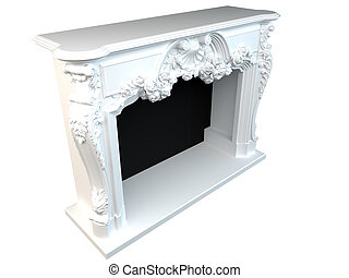 classic fireplace - 3D rendering of a classic fireplace,...
