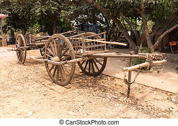 Traditional antique horse drawn wooden cart, cambodia