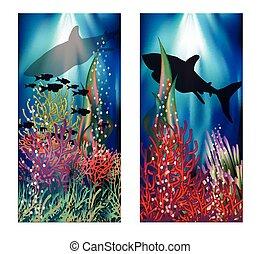 Underwater landscape banners set