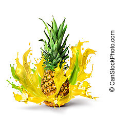 Fresh pineapple fruit juicy taste splash
