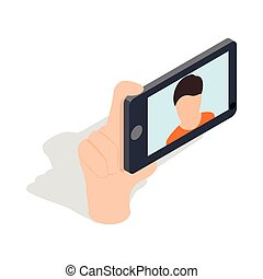 Guy taking selfie photo on smartphone icon in isometric 3d...