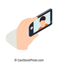 Young man taking selfie photo icon in isometric 3d style on...