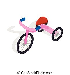 Pink tricycle icon, isometric 3d style - Pink tricycle icon...