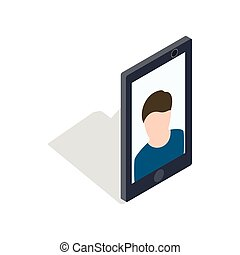 Photo of a man on the screen of smartphone icon in isometric...