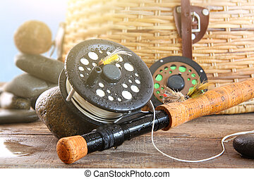 Close-up fly fishing rod and basket