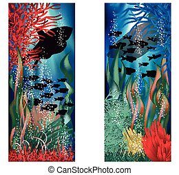 Underwater landscape banners set, vector illustration