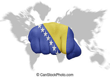 fist with the national flag of bosnia and herzegovina on a...