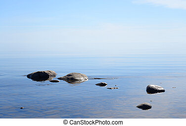 Ladoga lake at morning. - Ladoga lake at sunny morning, the...