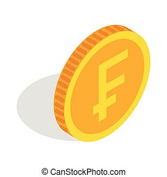 Gold coin with Swiss Frank sign icon in isometric 3d style...