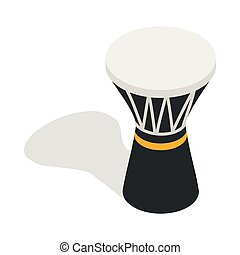 Darbuka, percussive musical instrument icon in isometric 3d...