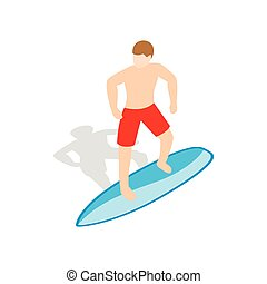 Surfer man on surfboard icon, isometric 3d style - Surfer...