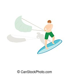 Kitesurfing icon in isometric 3d style on a white background