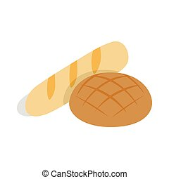 Rye bread and loaf icon, isometric 3d style