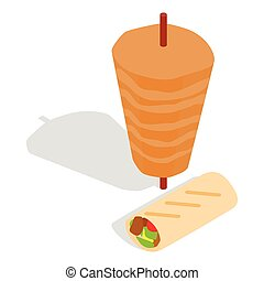 Traditional doner kebab icon, isometric 3d style -...