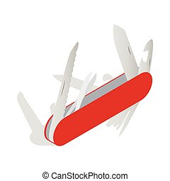 Pocket knife icon, isometric 3d style - Pocket knife icon in...