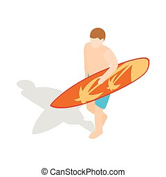 Surfer carries his surfboard icon in isometric 3d style on a...