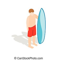 Surfer man with surfboard icon isometric 3d style - Surfer...