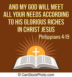 Christian motivational quote. And my God will meet all your...