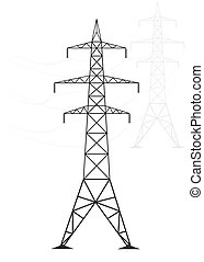 Silhouette high voltage power lines on a light background,...