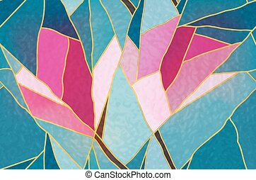 Multicolored stained glass with floral motif, vector