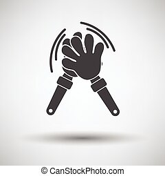 Football fans clap hand toy icon on gray background, round...