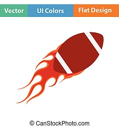 American football fire ball icon Flat color design Vector...