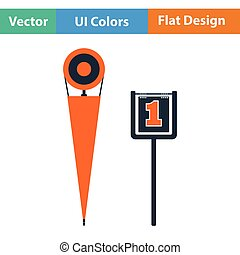 American football sideline markers icon Flat color design...