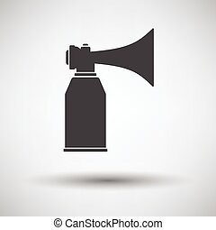 Football fans air horn aerosol icon on gray background,...