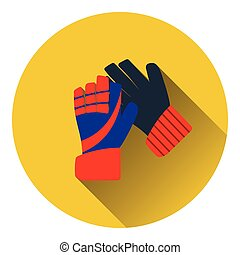 Icon of football goalkeeper gloves Flat color design Vector...