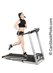 young woman running on treadmill machine, isolated at white...