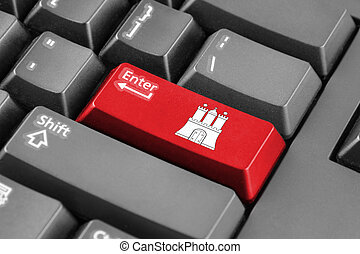 Enter button with Flag of Free and Hanseatic City of Hamburg