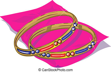 Bangle - A golden bangle is in the rose paper