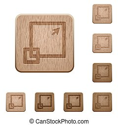 Maximize window wooden buttons - Set of carved wooden...