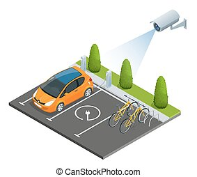 CCTV security camera on isometric illustration of electric car parking. 3d isometric vector illustration.