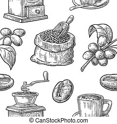 Seamless pattern with coffee, bean and branch. Black and...