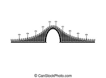 An isolated simple stone arch bridge on white background