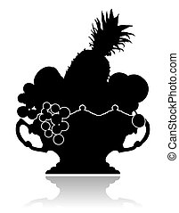 Vase with Fruit - Silhouette of a graceful vase with fruit...